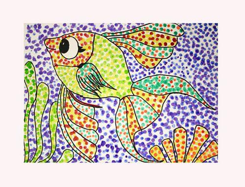 Pointillism Ocean Beach Or Aquatic Theme Pointillism Art Art