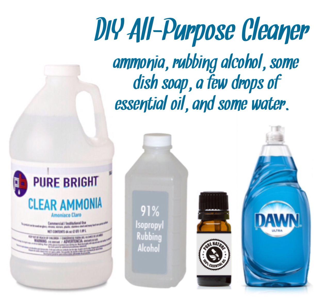 (DIY AllPurpose Cleaner ammonia, rubbing alcohol, some
