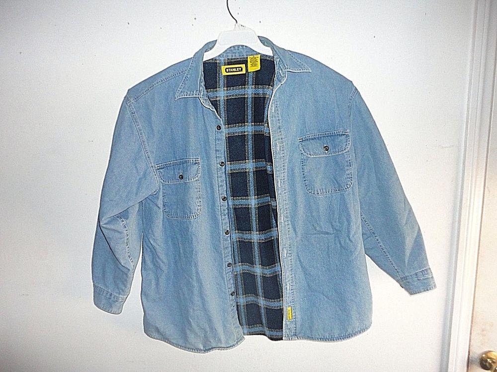 Stanley Denim Work Shirt Jacket Blue Thick Flannel Lined X Large Carpenter Stanley Linedworkjacket Work Shirts Work Jackets Shirt Jacket