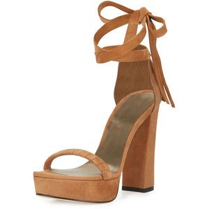 Stuart Weitzman Craft Suede Lace-Up Platform Sandal