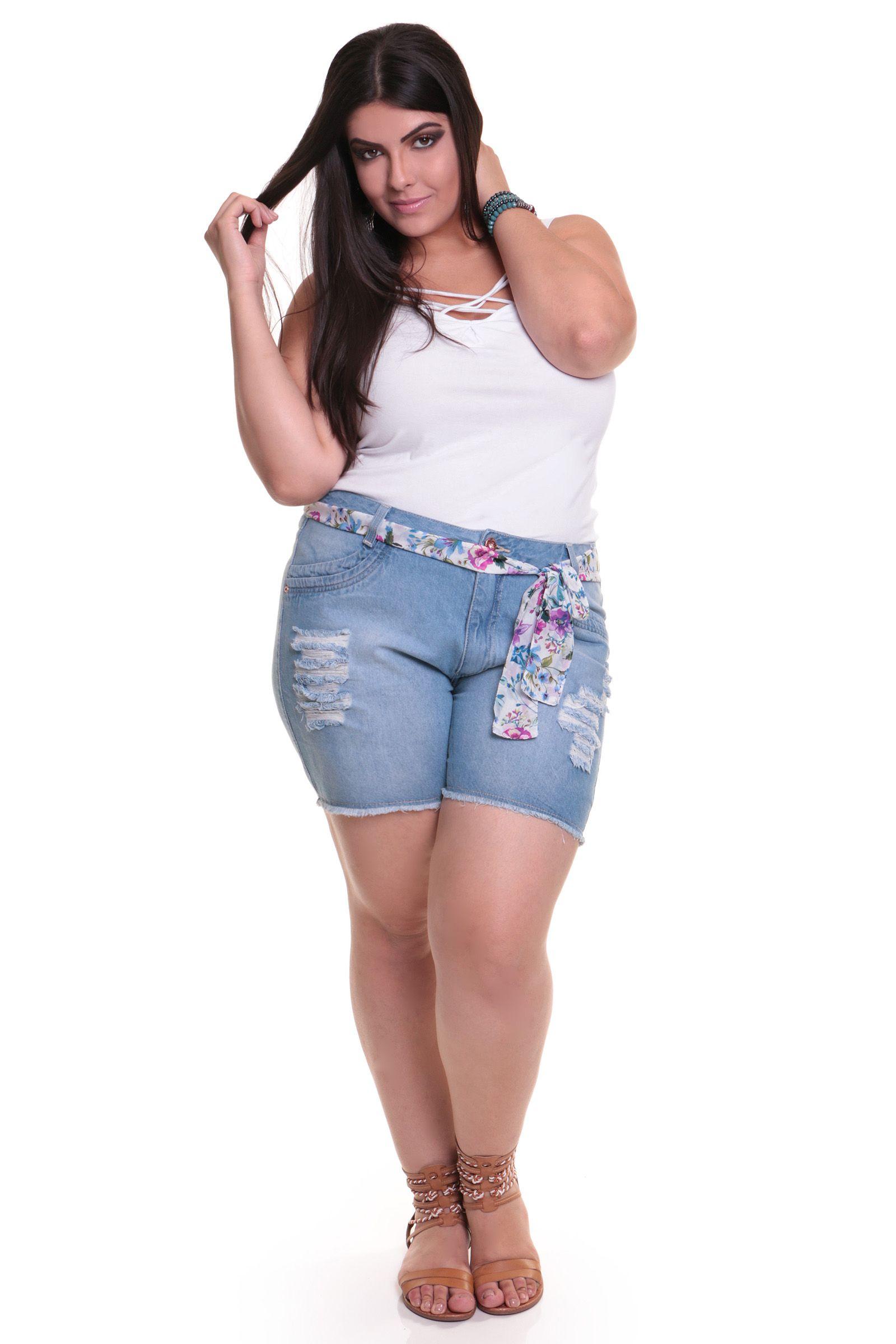 bermuda rasgada plus size   plus size jeans kauê   pinterest