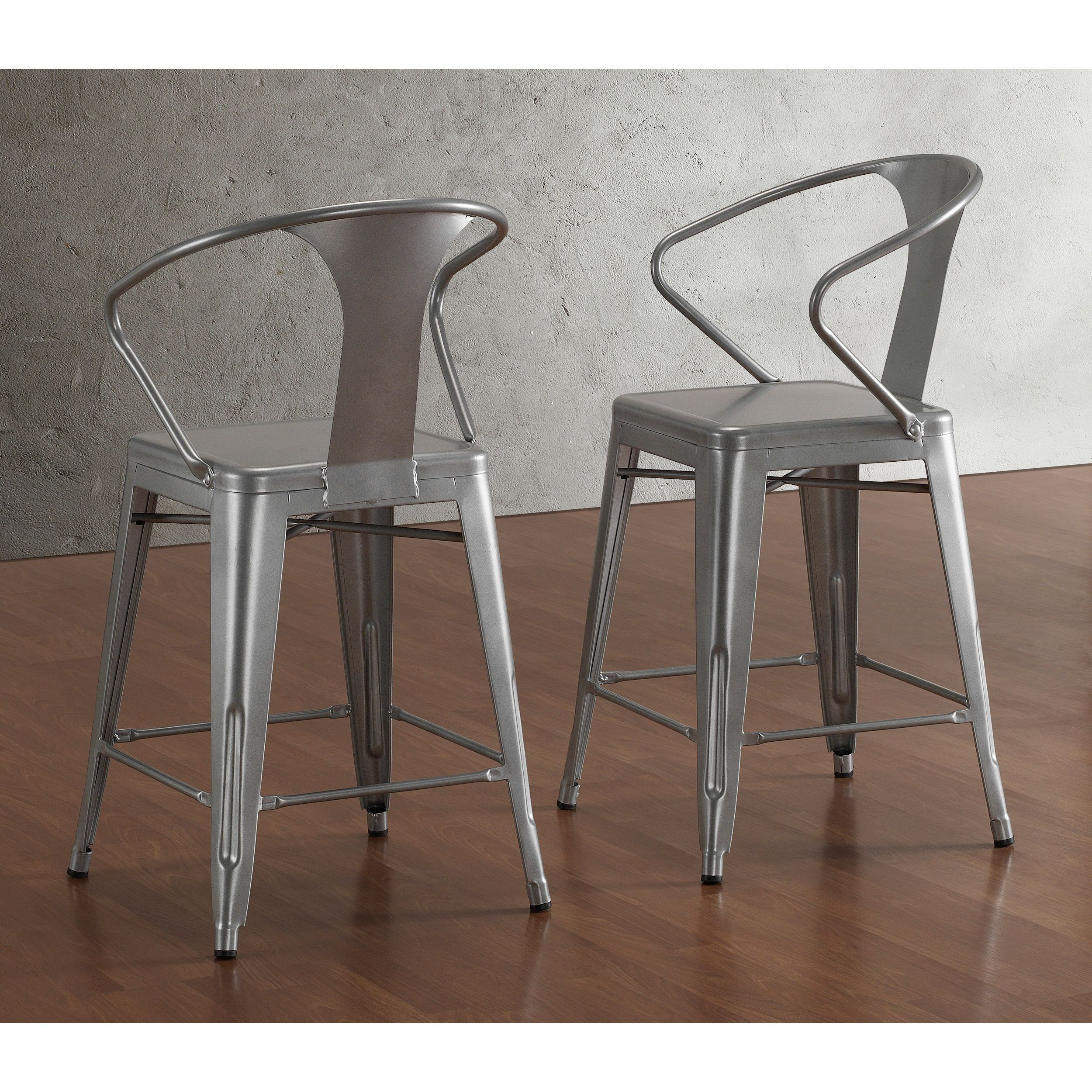 Tabouret Silver With Back 24 Inch Counter Stools (Set Of 2) By I Love Living