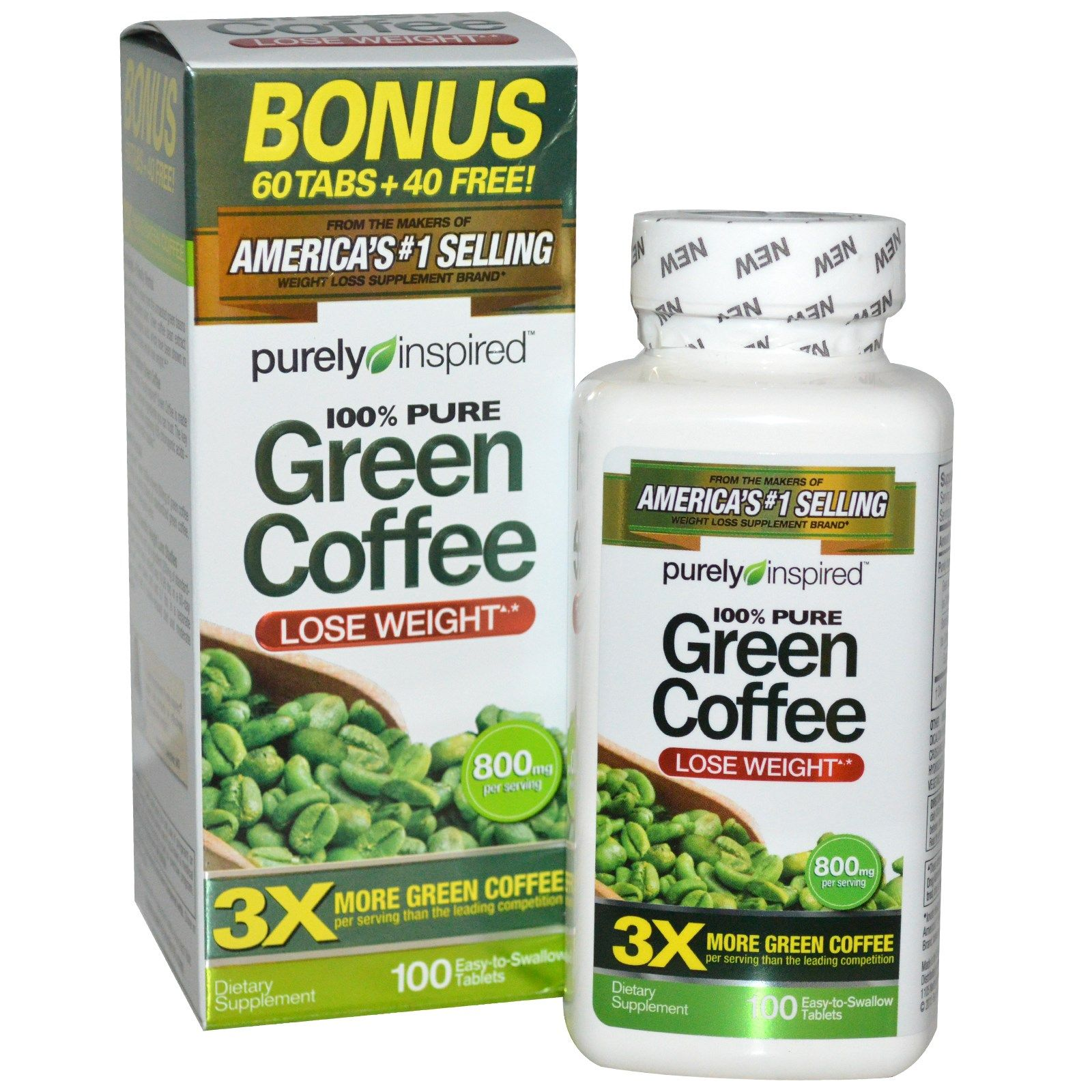 Purely Inspired, Green Coffee+, 100 Veggie Tablets Green