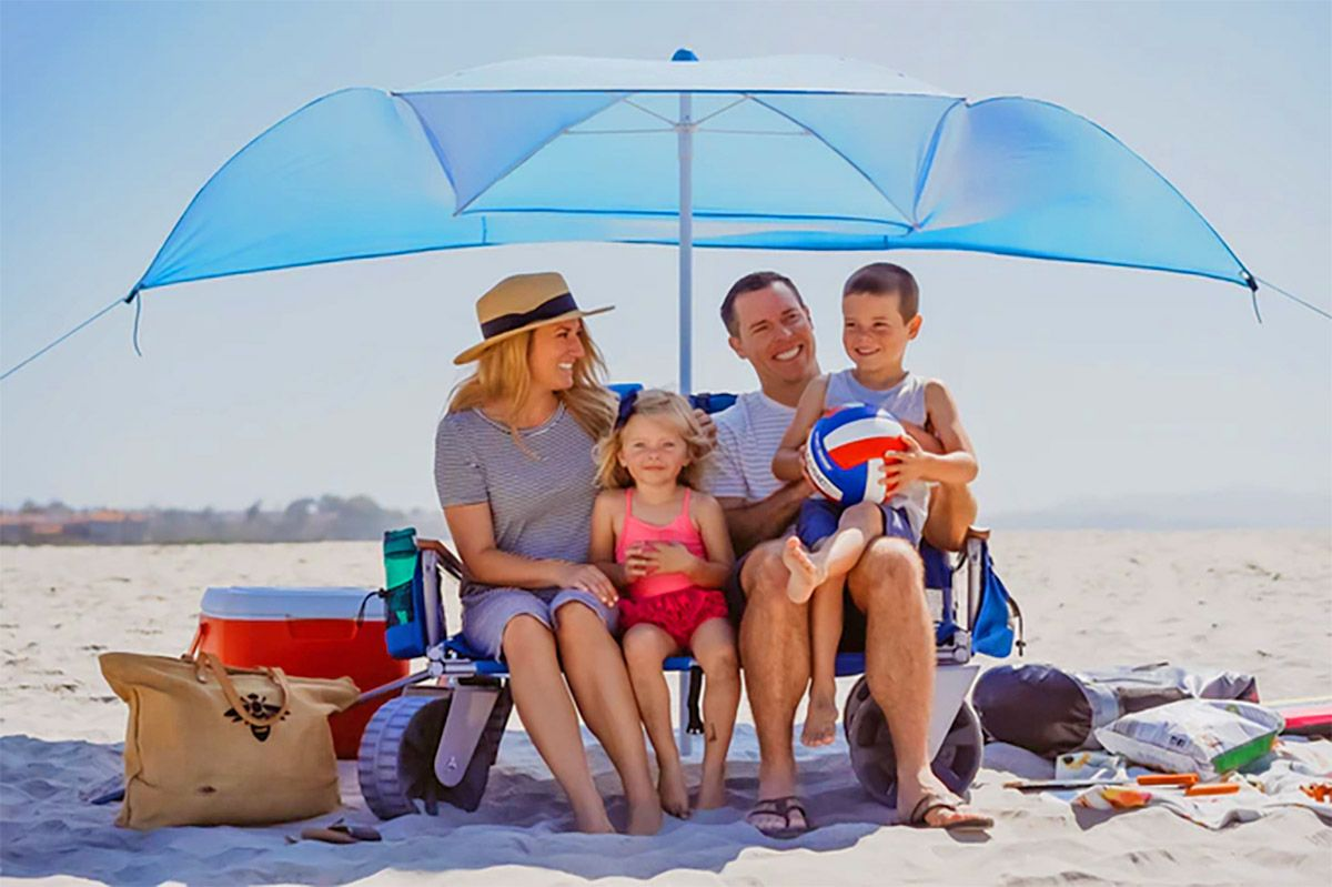 This 3 In 1 Beach Wagon Turns Into A Two Person Beach Chair With An Umbrella Beach Wagon Wagon Umbrella