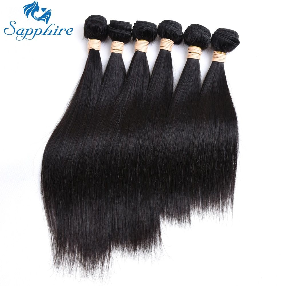 Sapphire Hair Extension Brazilian Straight Human Hair With Lace Closure Human Hair Bundles Brazilian Hair 6 Bundles With Closure 3/4 Bundles With Closure