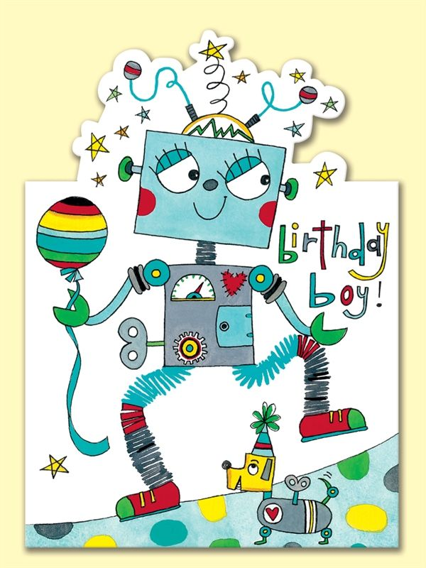 Rachel Ellen card - birthday boy - robot