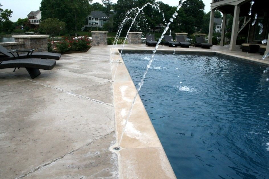 Awesome Cool Crete Pool Decking Patio with Pentair Deck Jet Water ...