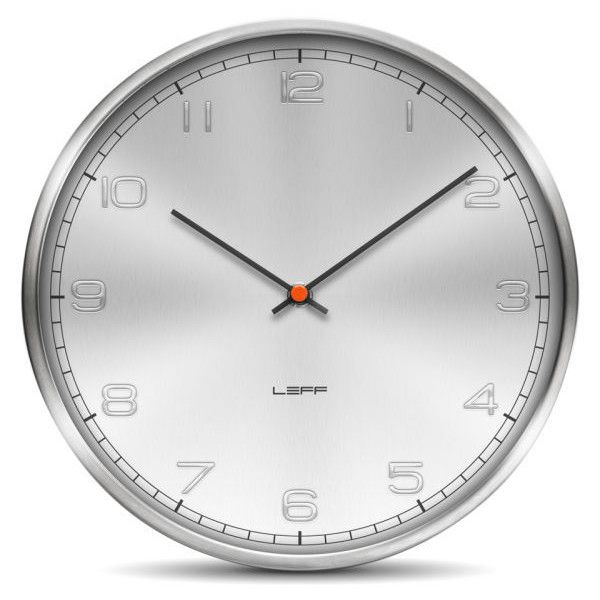 Leff Amsterdam One 35cm Wall Clock Stainless Steel Embossed 115 Liked On Polyvore Featuring Home Home Decor Clock Wall Clock Contemporary Wall Clock