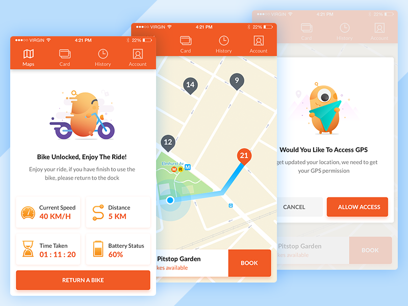 Rent Bike Or Scooter App Concept App Bike App Design