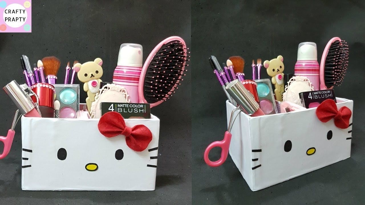 DIY Desk Organizer. DIY Makeup Organizer. Cajas organizadoras de Hello kitty.Hello kitty organizer