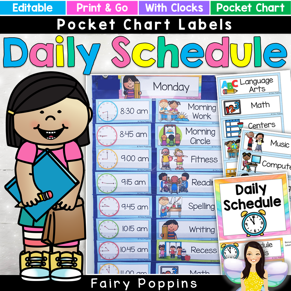 Back To School Printables Fairy Poppins Visual Timetable School Schedule Printable Classroom Schedule