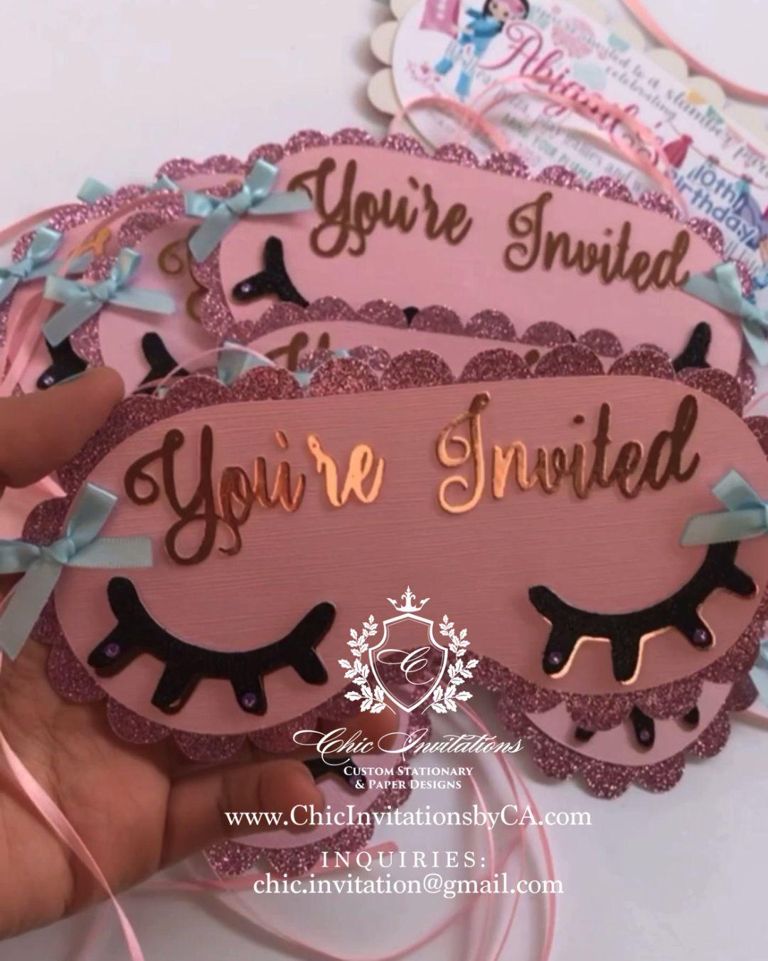 Sleep mask invitation, sleepover, handmade invitation, 3D Invitation