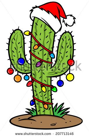 cactus with christmas lights clipart