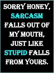 sarcasm falls out of my mouth like stupid falls out of yours