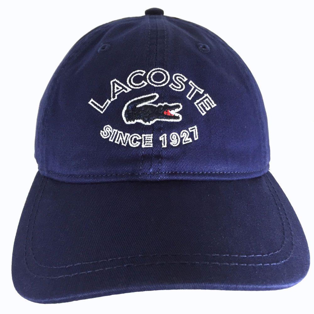 0a9c0015 Lacoste Since 1927 Croc Logo Hat Cap Navy Blue Adjustable Strap RK3969 One  Size #Lacoste #BaseballCap