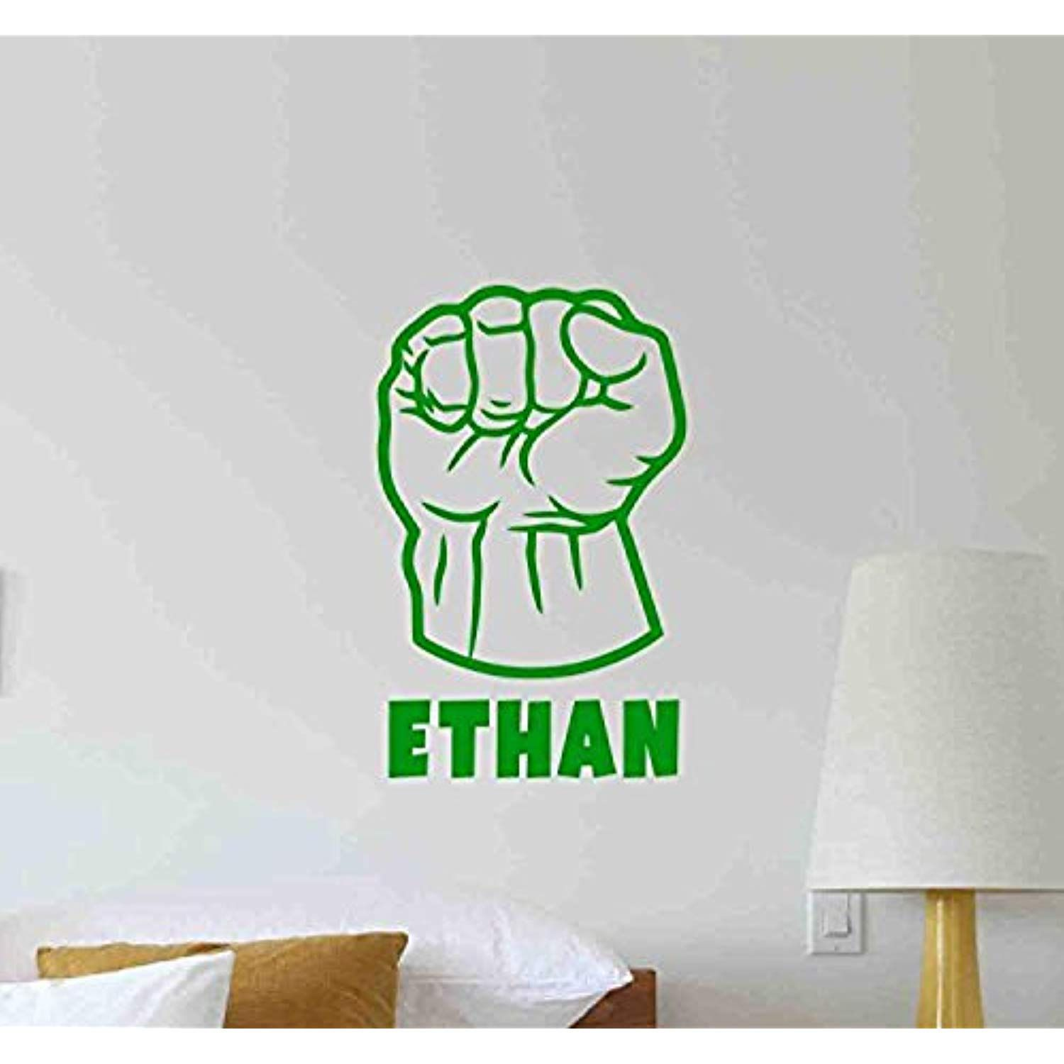 Atopdecals personalized hulk fist wall decal superhero marvel comic book avengers vinyl sticker living room decorations housewares home bedroom nursery