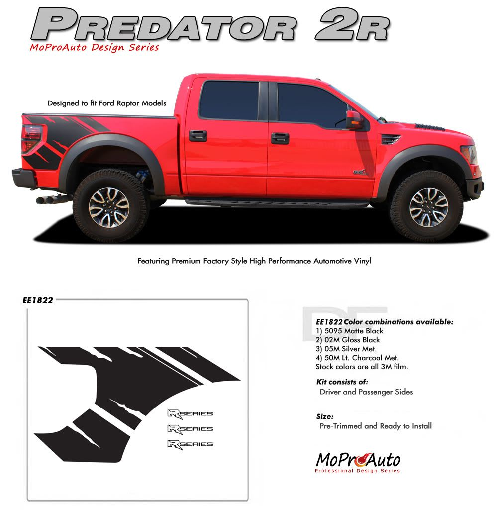 Predator 2r 2009 2010 2011 2012 2013 2014 ford f series raptor style vinyl graphics and decals kit raptor model only dream trucks pinterest ford