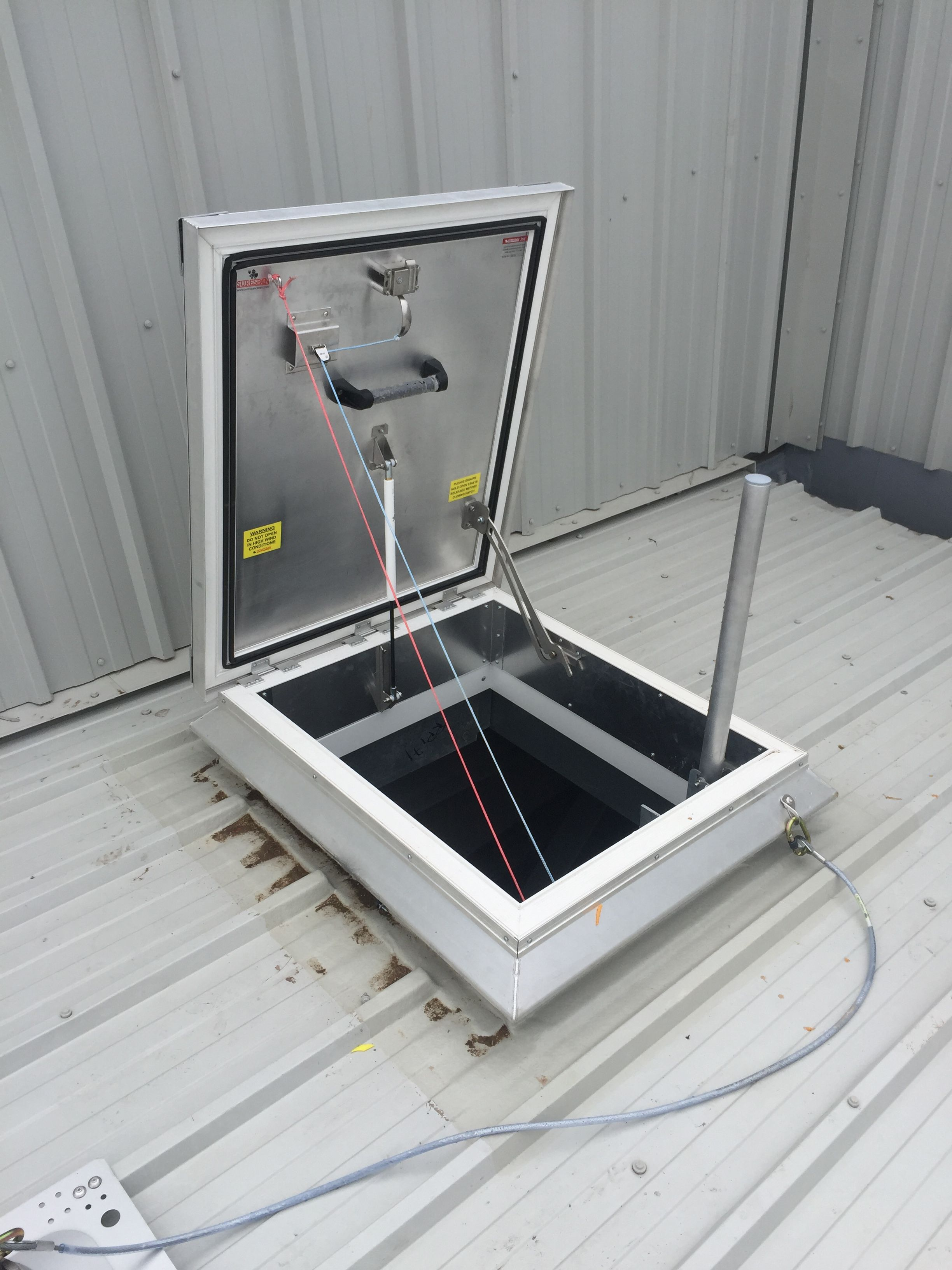 Surespan Aluminium Roof Hatch With Cable Release Mechanism