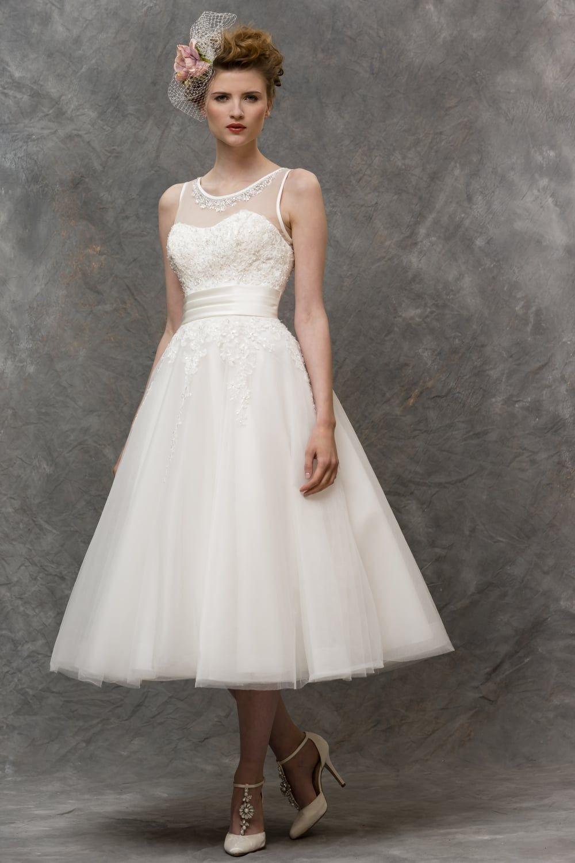 Brighton Belle Lizzie Tea Calf Length Vintage 1950s Wedding Dress