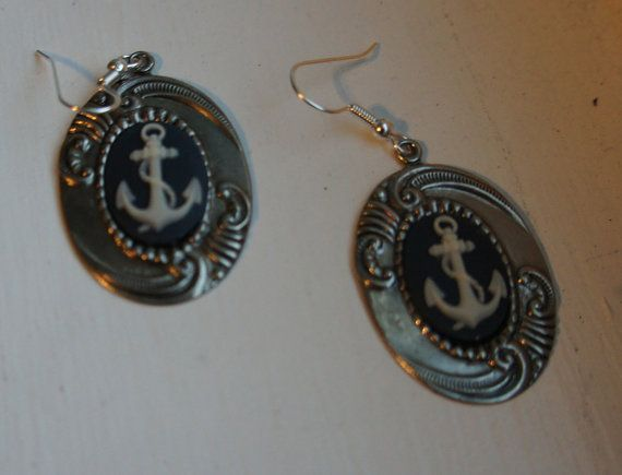FOR SALE!  Free shipping! Nautical anchor wave earrings by LCBeads2wear on Etsy, $20.00