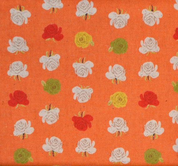 Heather Ross Far Far Away 2  Coral Orange Roses by OakHillArts, $7.00
