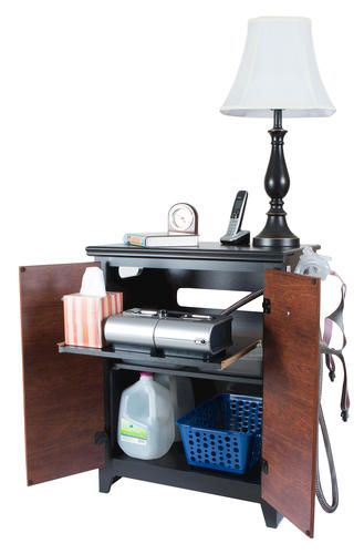 """Cpap Bedside Table: Dakota 24"""" Wide 2-Tone Black And Cherry CPAP Nightstand At"""