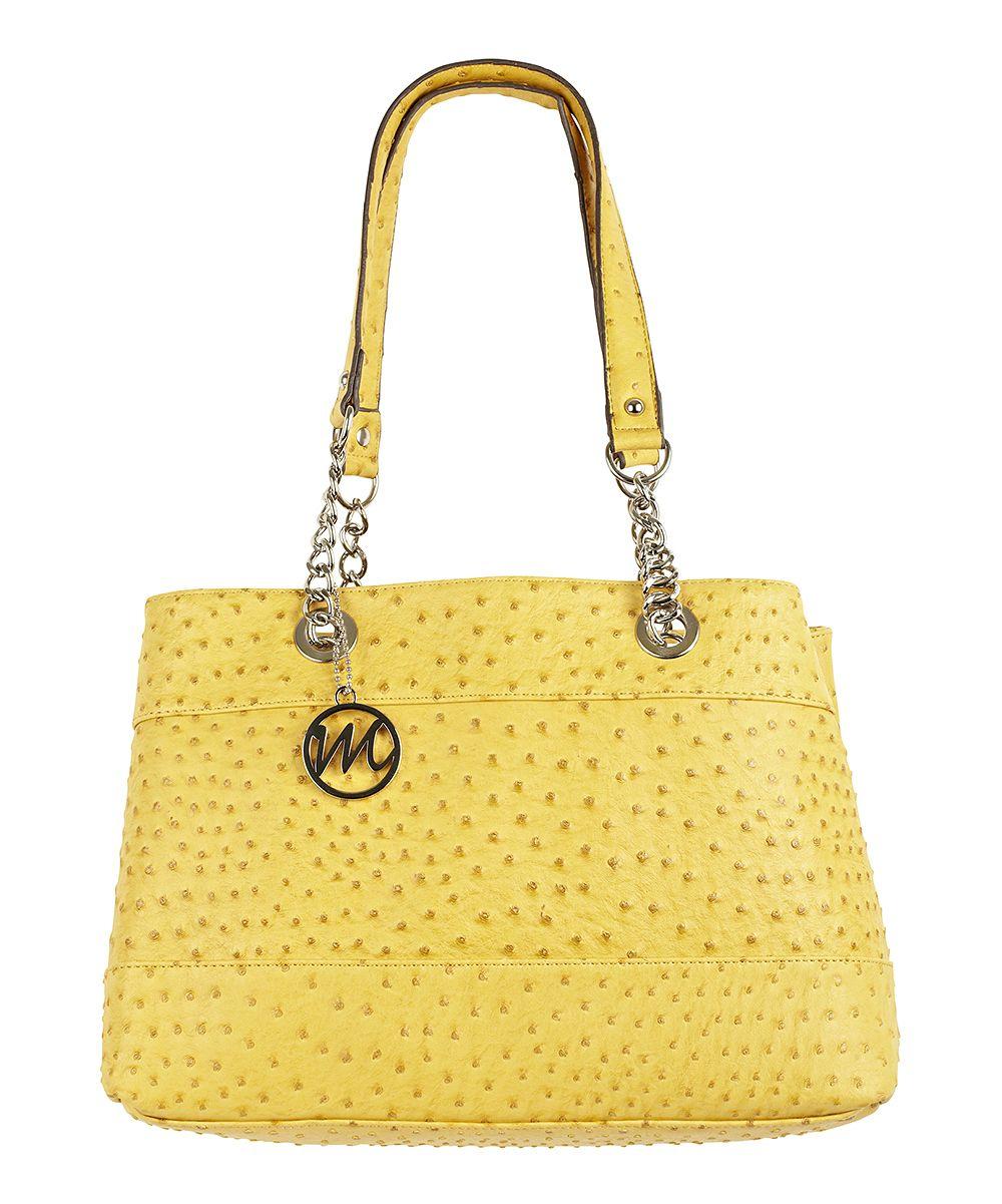 0ca7df2ab3b9 Mustard Ostrich Nicole Chain Tote. Mustard Ostrich Nicole Chain Tote Wholesale  Designer Handbags ...