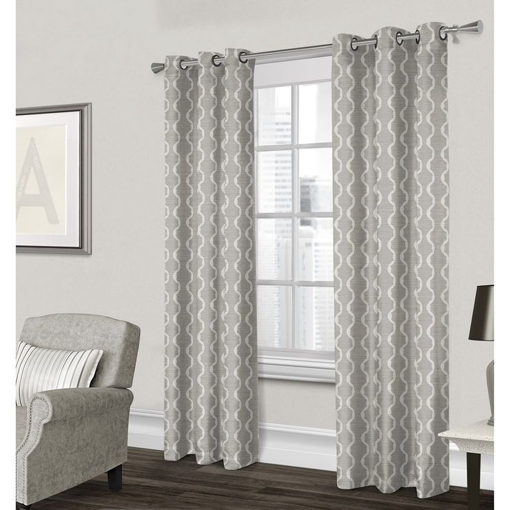 Baroque Textured Grommet Curtain Panel Gray 96 In Grey Curtains Living Room Living Room Drapes Curtains Living Room Modern