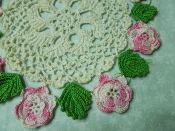 Vintage 10 inch white hand crochet doily with by MarlenesAttic, $5.00