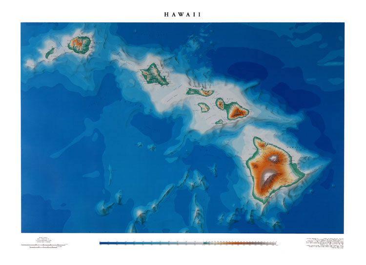 Large Hawaii wall map | Art Inspiration | Pinterest | Wall maps ...