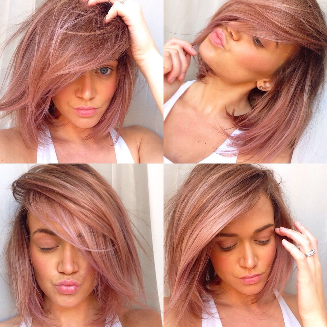 Pink Lavender Tint To Dirty Blonde Hair With Balayage Highlights
