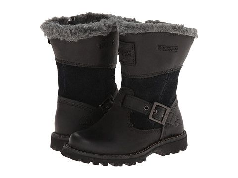 08051dc87fbe Timberland Kids Earthkeepers® Asphalt Trail Skyhaven Tall Boot w  Faux  Sherling (Toddler Little Kid) Black Grey - 6pm.com
