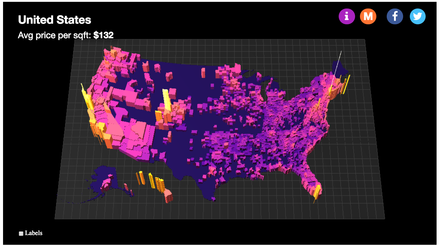 3D Map Shows the Price Per Square Foot of US Housing Markets