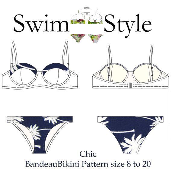 Elegante patrón de costura Bandeau bikini pdf por Swimstylepatterns ...