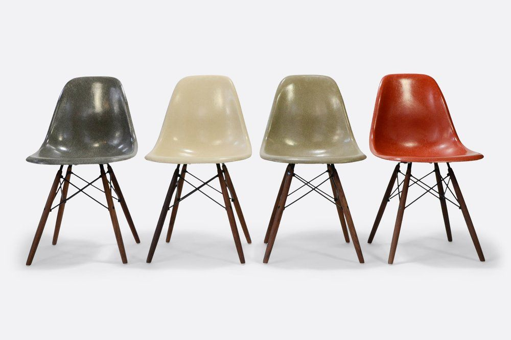 Eames Set Of 4 Side Chair In Different Colors Vintage Fiberglass Eames Fiberglass Chair Eames Dsw Chair Vintage Eames