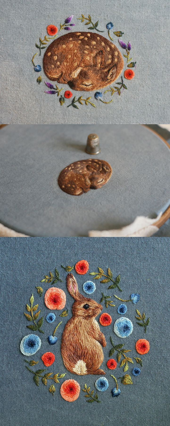 Meticulously-Stitched Embroideries Sculpt Fuzzy Woodland Creatures with Thread
