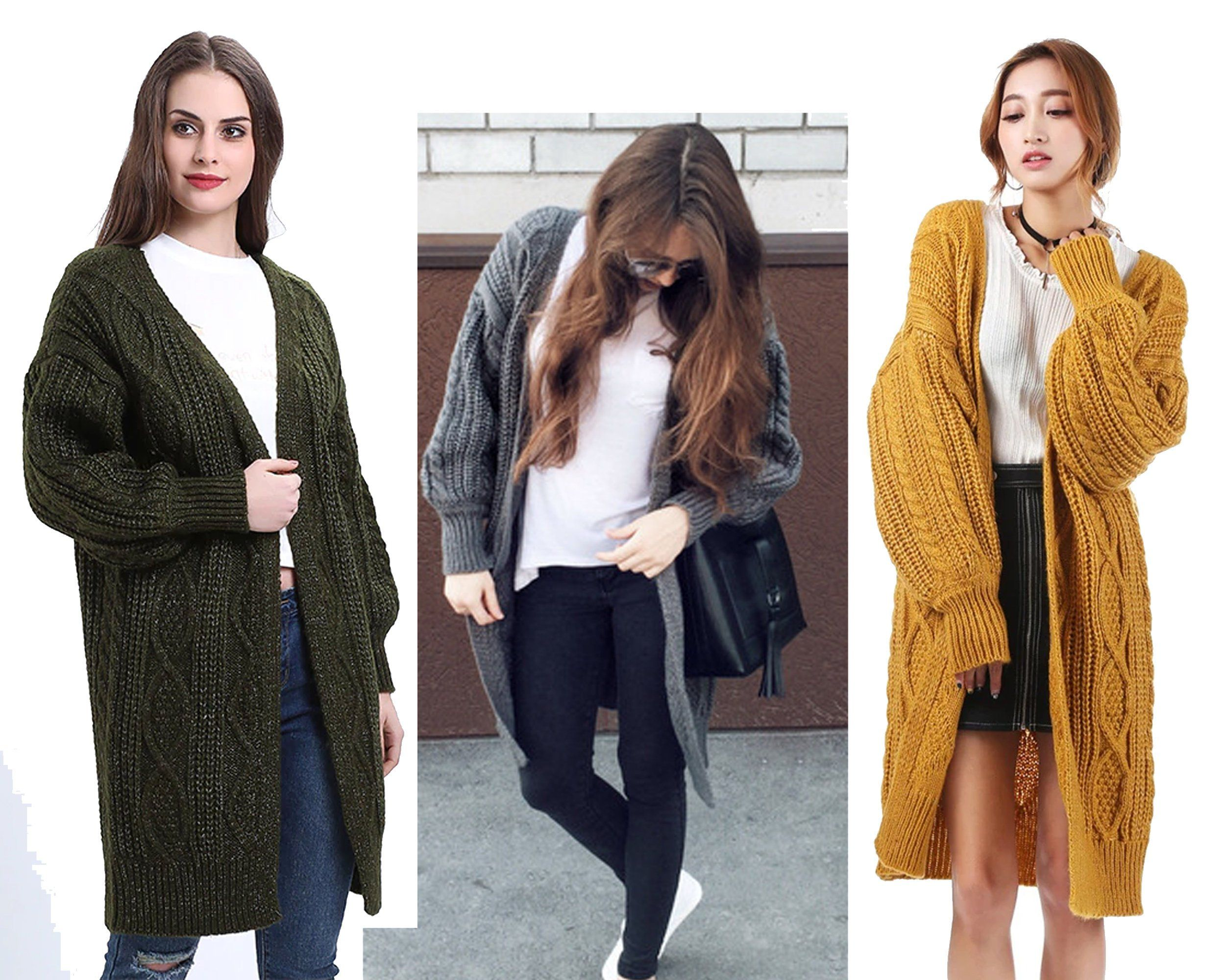 Women Oversized Batwing Sleeve Knitted Sweater Vintage Girls Sweater Tops  Loose Cardigan Outwear Coat  One bf88ff58f