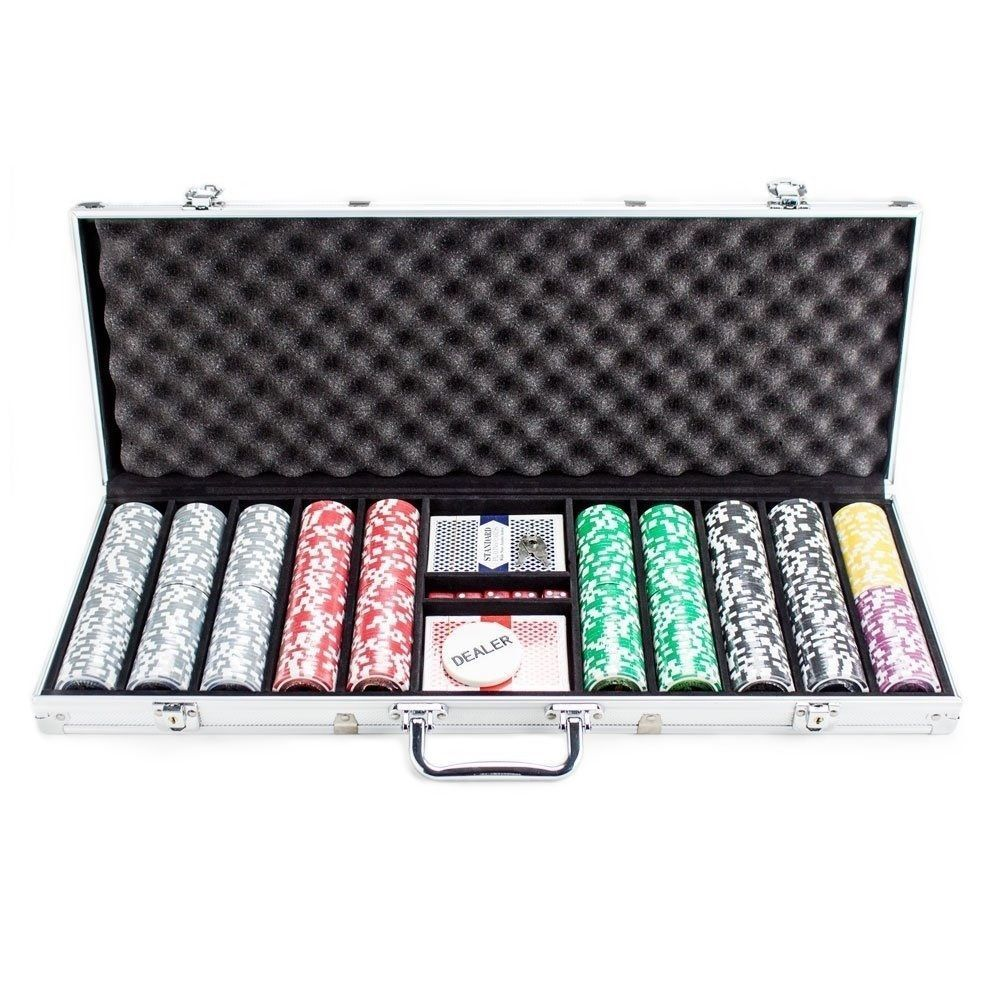 500 Clay Poker Chip Set Aluminum Case Professional Texas