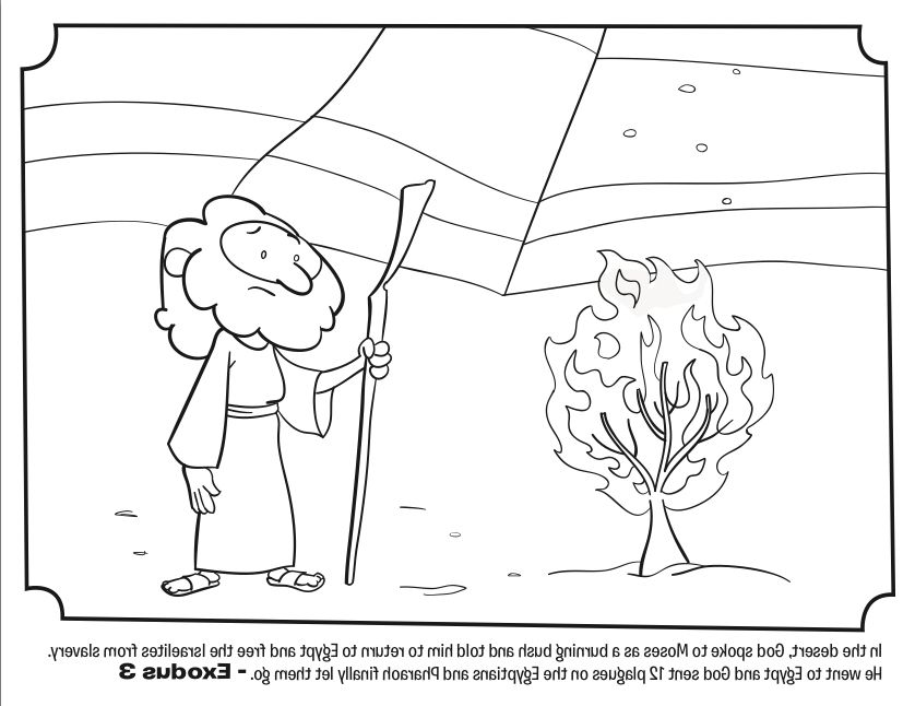 the most brilliant lovely moses and the burning bush coloring page