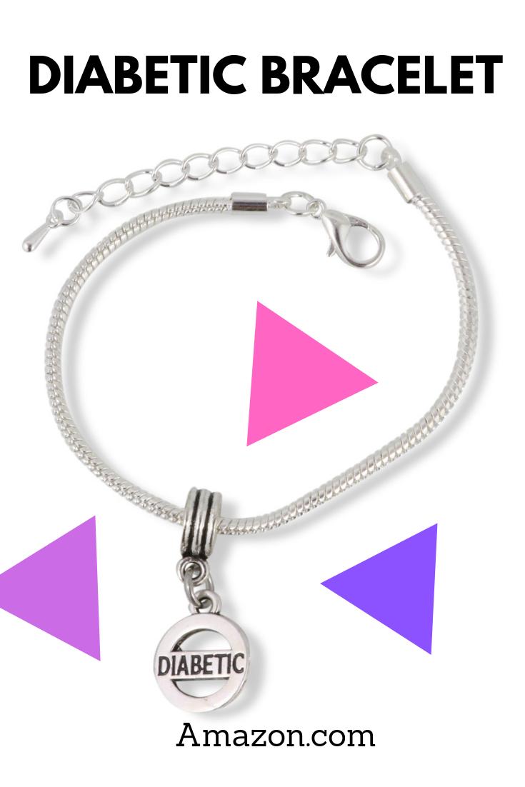Diabetic Medical Alert Awareness Snake Chain Charm Bracelet for Men and Women Silver Plated Gift for
