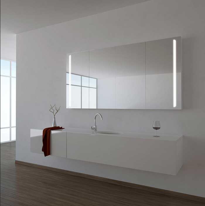 LED Badezimmer Spiegelschrank Bad Wand Schrank Alu Rahmen