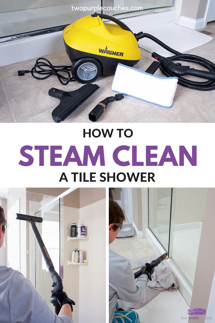 How To Steam Clean A Tile Shower Two Purple Couches In 2020 Shower Tile Steam Cleaning Cleaning Glass Shower Doors