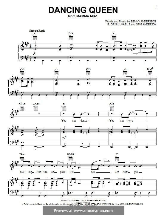 Dancing Queen From Mamma Mia Piano Sheet Music Beginners