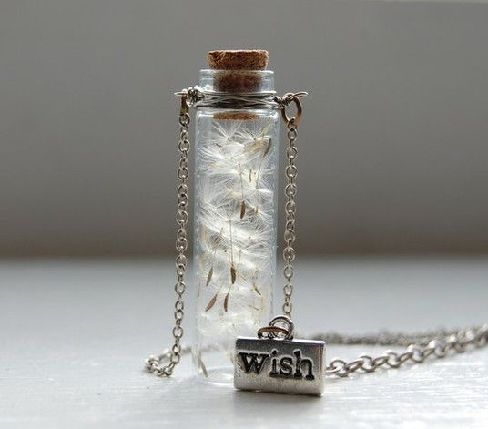 Wish Necklace - Mini bottle with dandelion seeds.