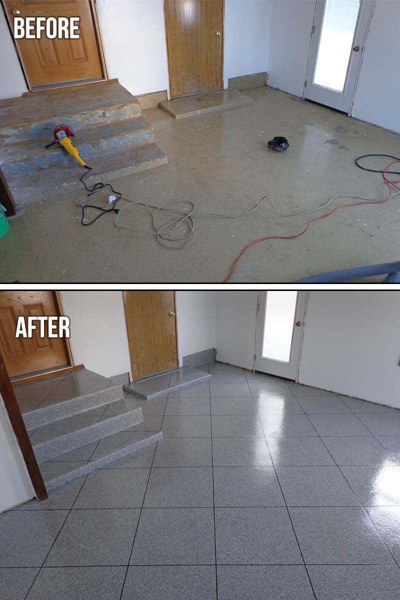 epoxy flooring granite tile the protector flakes system makes rh pinterest com