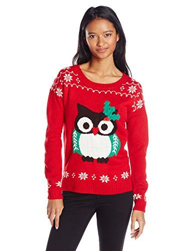 its our time juniors christmas 3d owl cute christmas sweater red combo medium