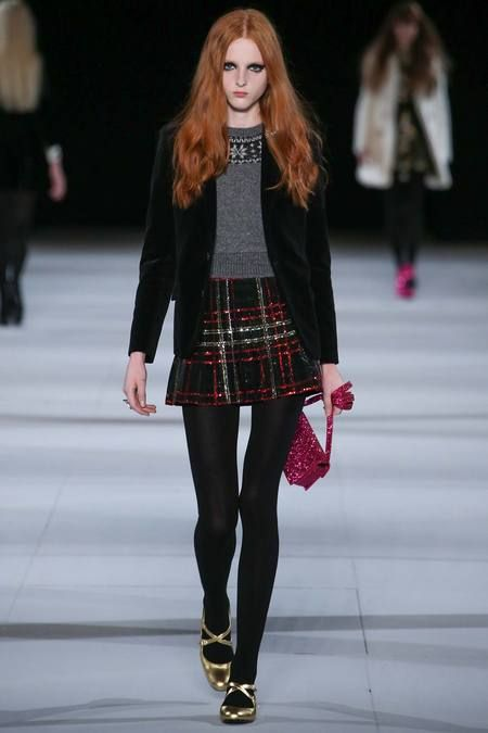 Saint Laurent | Fall 2014 Ready-to-Wear Collection | Style.com This outfit is everything - sparkle plaid, fair isle, velvet - love!