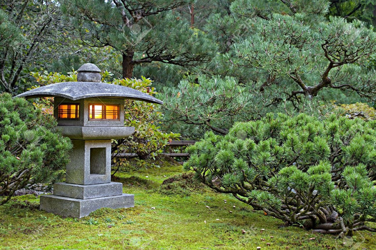 7914703 stone lantern at portland japanese garden lit at for Japanese stone garden