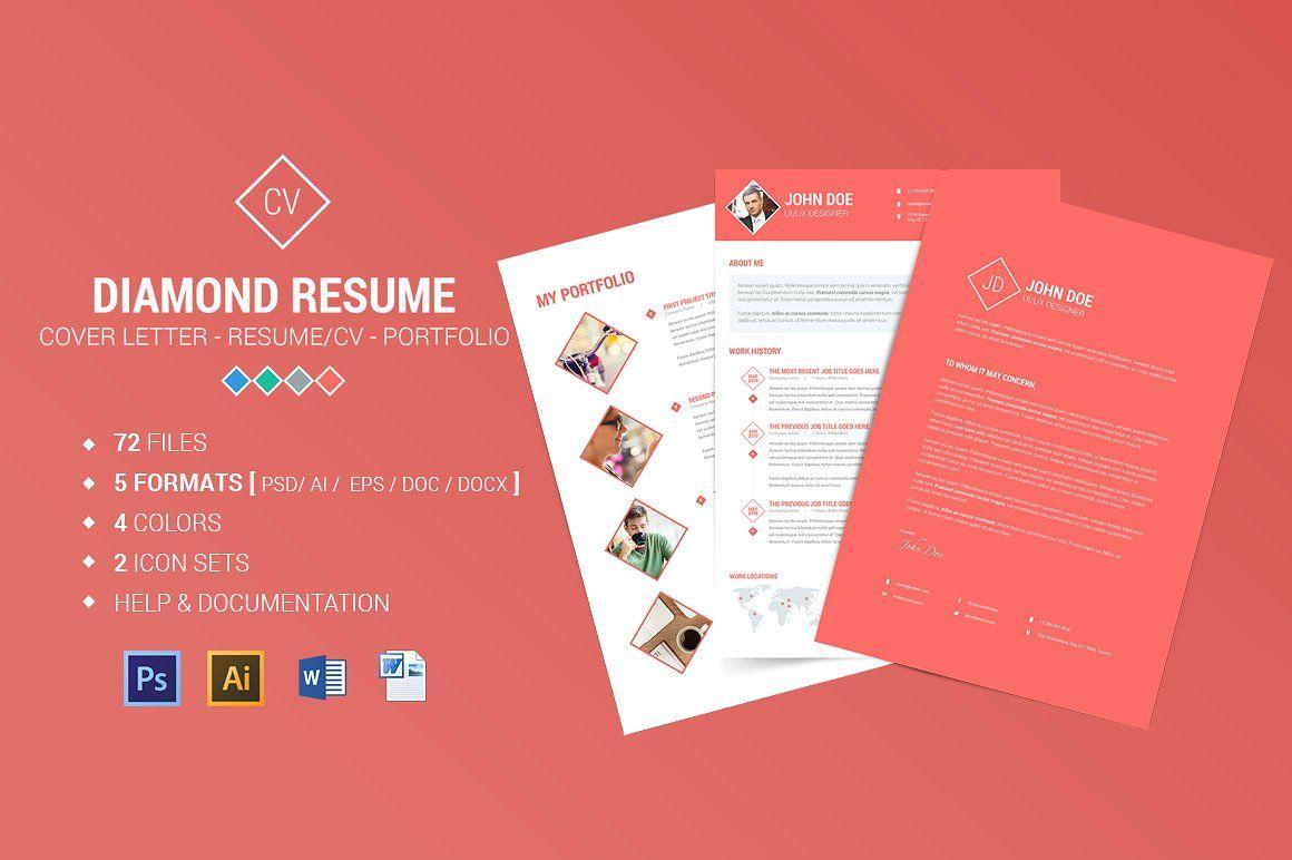 Diamond Resume/CV 3 Piece Resume Resume cv, Graphic