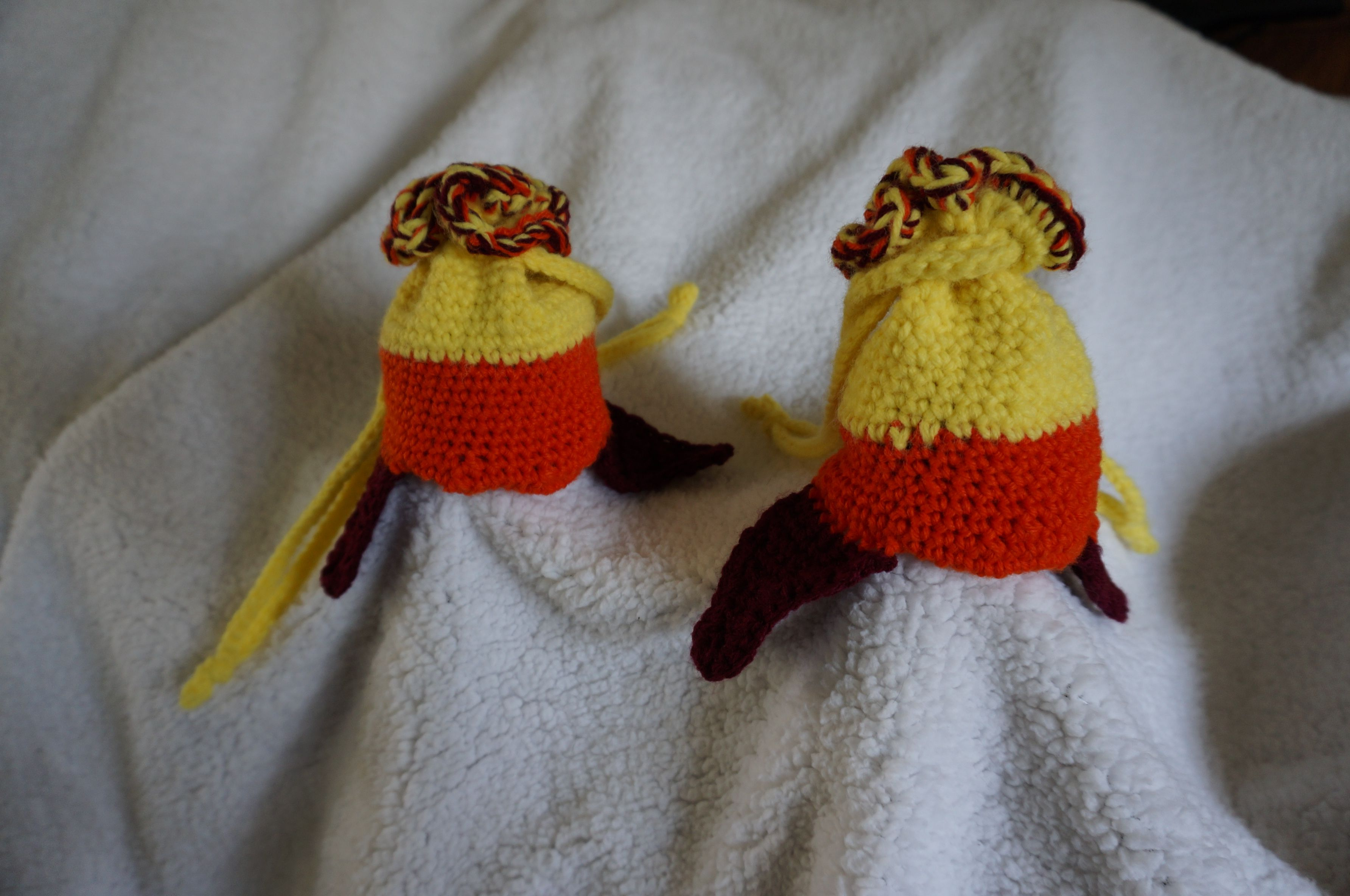 Ever See Firefly These Dice Bags Look Like Jayne S Earflap Hat Made With Yellow Orange And Maroon Acrylic 4 Ply Yarn Crochet Hats Hat Making 4 Ply Yarn
